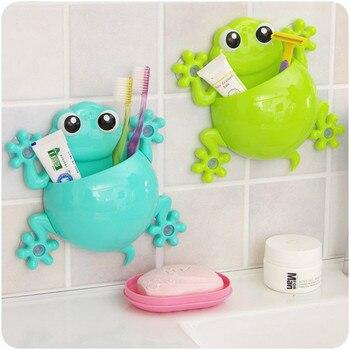 Encantadora gecko cepillo de dientes de la pared de baño conjuntos de dibujos animados tonto titular de cepillo de dientes de ganchos de succión
