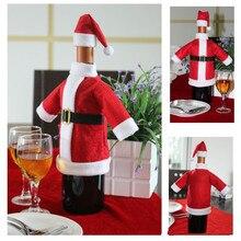 2 шт./компл. рождественские украшения красные чехлы для винных бутылок одежда с Шапки для домашнего рождественского ужина вечерние или подарок на год