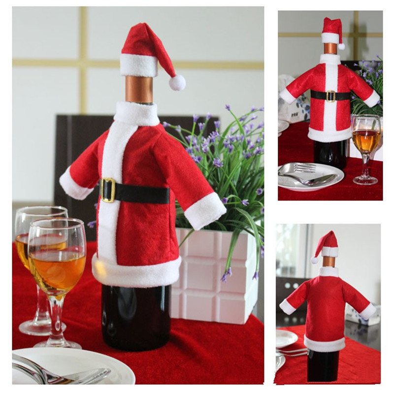 2pcs/ Set Christmas Decoration Red Wine Bottle Covers Clothes With Hats For Home Christmas Dinner Party Or Gift Free Shipping