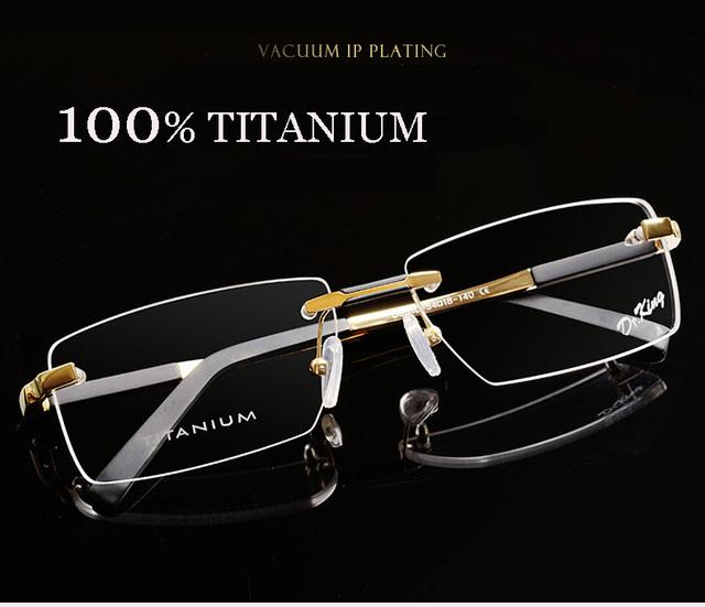 Óculos sem aro de titânio óculos de sol marca de moda grife óculos de armação masculino homens óculos de grau em linha 1083