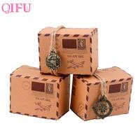 QIFU 50pcs Vintage Candy Box DIY Kraft Gift Box Paper Chocolate Packaging Bags Kids Birthday Favors