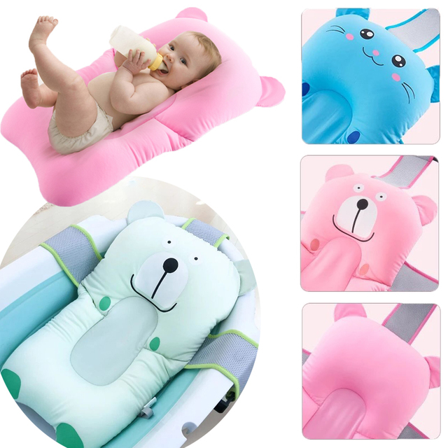 Newborn Bath Floating Pad Mat Baby Bath Tub Pad Baby Shower Portable Air Cushion Bed NewBorn Safety Security Bath Seat Support