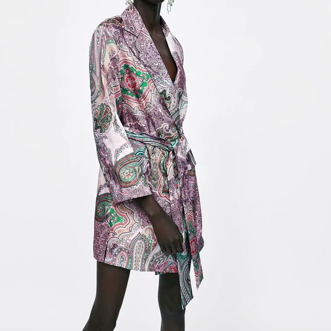 Autumn Casual Women Suits Vintage Pants Suit Purple Paisley Printed Blazer Long Pants Suits 2 Pieces Sets