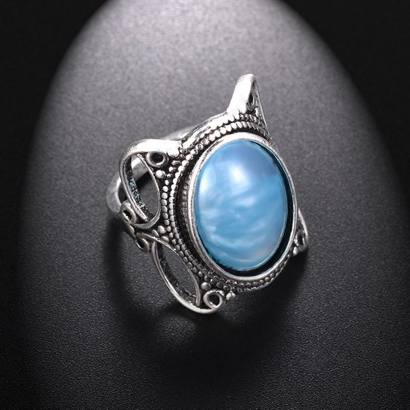 Vintage Silver Big Moonstone Rings For Women Crystal Rings ...