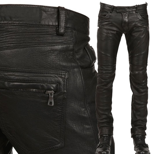 New arrival PU Leather men's stylish riding jeans Biker slim pants destroyed slim fit biker jeans