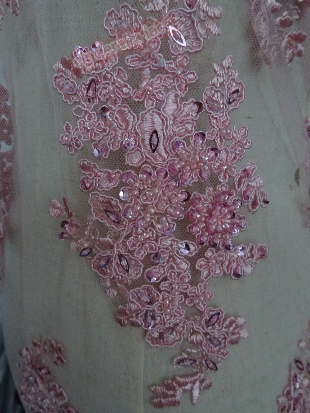 New beaded embroidery lace mesh baby pink african net fabric for evening dress/party dress for bridal dress-in Lace from Home & Garden    2