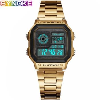 PANARS Women Sport Digital Watches 2019 Fashion Luxury Brand Countdown Gold Men Waterproof Swim Back Light Steel Digital Watch