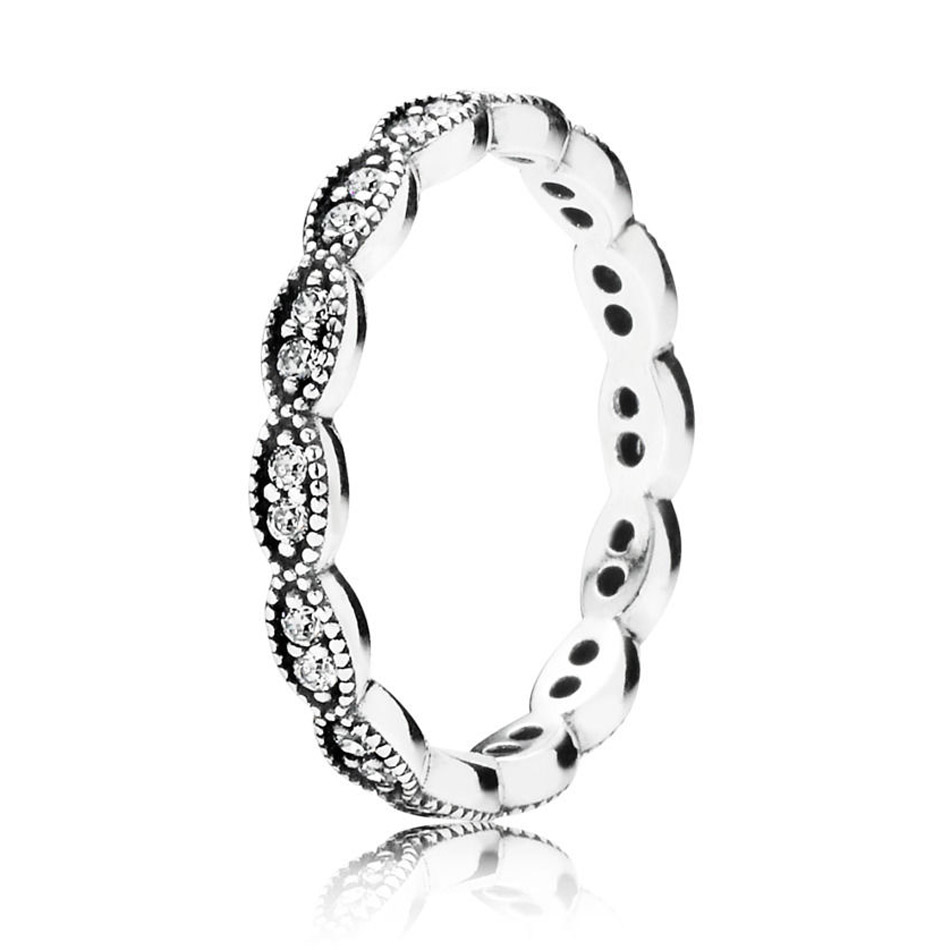 925 Sterling Silver Women Ring Sparkling Leaves Silver Banded Ring Girl Finger Ring Wedding Gift fit Lady Fine Jewelry
