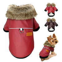 Waterproof Dog Leather Coat Fur Collar Clothes Winter Dog Jacket Coat For Small Pets Yorkies Pug