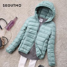 SEDUTMO Hooded Puffer Coat Jacket Parkas Short Duck-Down Ultra-Light Autumn Womens Plus-Size
