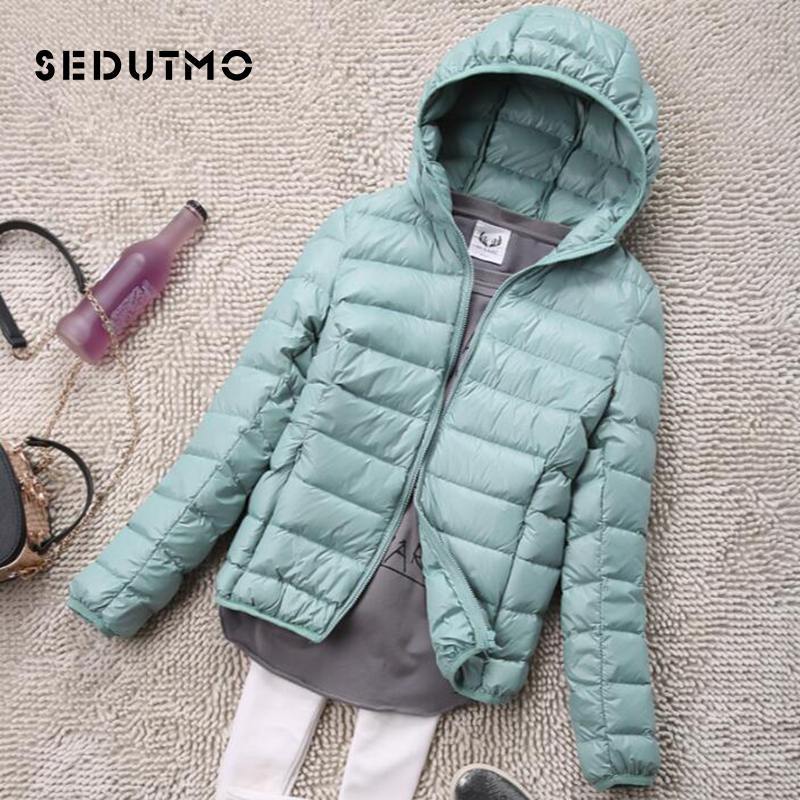 SEDUTMO Winter Plus Size 4XL Womens   Down   Jackets Short Ultra Light Duck   Down     Coat   Hooded Puffer Jacket Autumn Parkas ED034