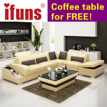 IFUNS recliner leather corner sofa set,european style l shape modern leather sectional sofa set home furniture living room(China)