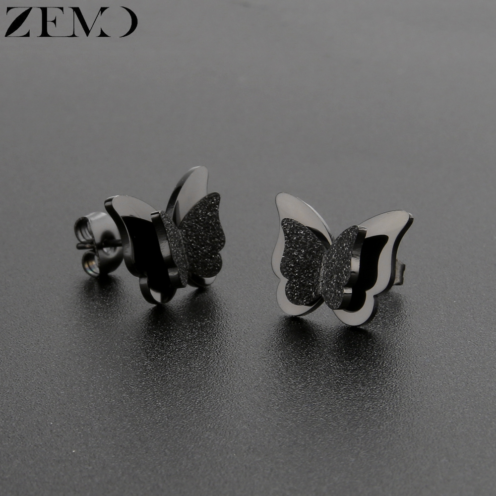 ZEMO Rose Gold Butterfly Stud Earring Female 316L Stainless Steel Black Earrings Ear Piercing Studs for Women Children`s Earring (2)