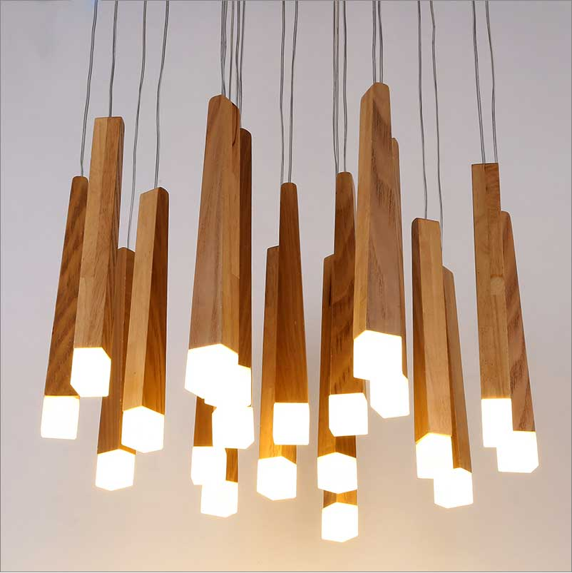 ФОТО Nordic style wooden chandelier modern personalized decoration simple wood wood log LED restaurant Chandelier