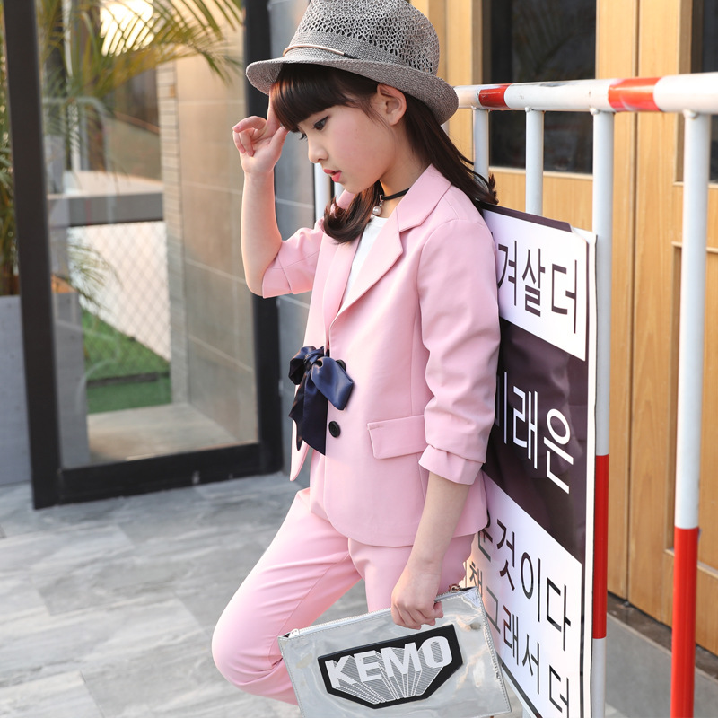 Girls Suit 2017 New Fashion Clothes Autumn Soild Baby Girls Clothing Set 3 4 5 6 7 8 9 10 11 Years Formal Children Set 2pcs Suit