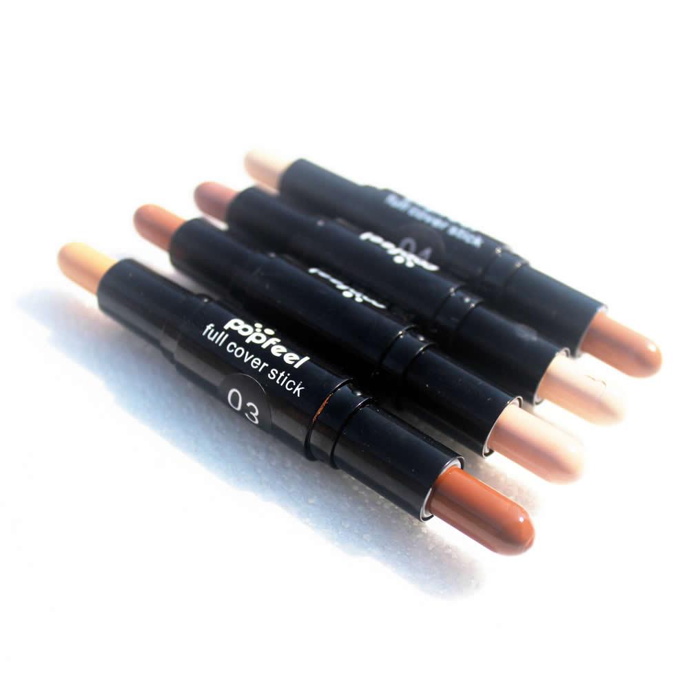 Popfeel Двусторонняя 2 in1 contour stick Макияж сливочный читая бронзатор создать 3D Уход за кожей лица Корректоры для лица полное покрытие порока Лидер продаж новый