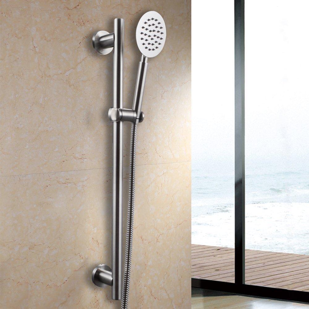 Tout le pommeau de douche tenu dans la main de salle de bains d'acier inoxydable SUS304 solide avec la barre de glissière réglable, finition balayée - 2