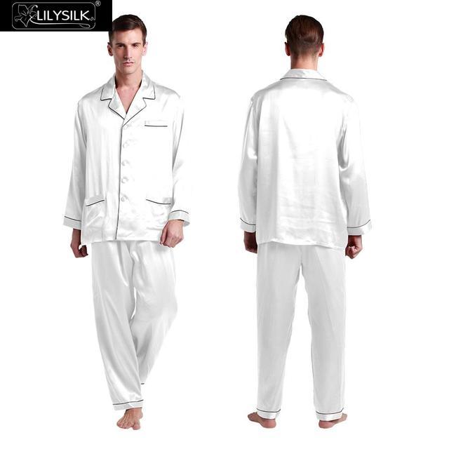 Lilysilk Seda Pijama Para Homens Sleepwear Sono Puro Camisa Com Calças de Dormir Inverno Branco Aparado Macio Acolchoado Pijamas Set Masculino