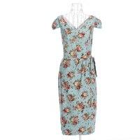 Dress Online Summer Spring Women Party Rockabilly Dresses Pencil Print Floral Rose Short Sleeves Vintage