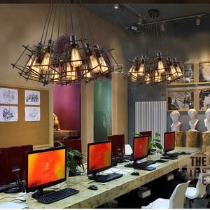 Image 3 - 빈티지 철 프레임 샹들리에 에디슨 전구 E27 홀더 로프트 레스토랑 바 카페 거실 레트로 산업 스타일 샹들리에