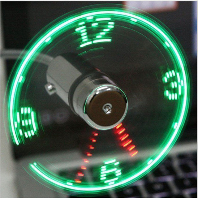Mini Durable Adjustable Flexible USB Fan LED Clock