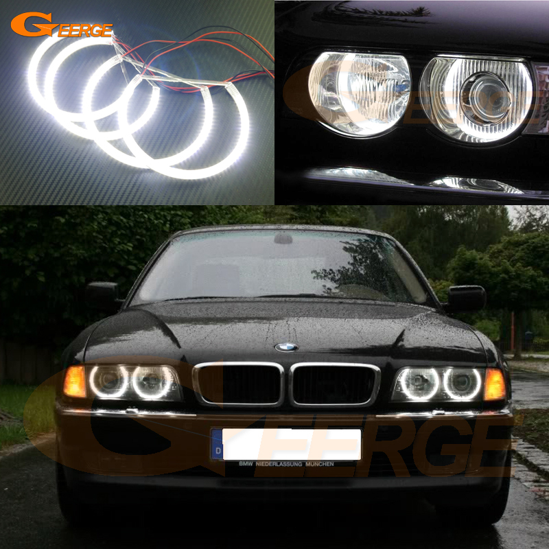 For BMW E38 740i 750i 730d 740d 728i 1995-2001 XENON headlight Excellent smd led angel eyes Ultra bright SMD led Angel Eyes kit led headlight lights angel eyes