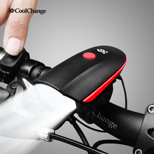USB Rechargeable Mountain Bike Front Light with Electric Bell 140db Bicycle Horn Lights Headlight Cycling MTB