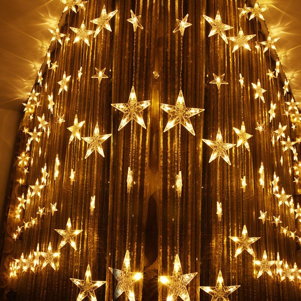 3*1.5m 78leds Holiday lights Star Curtain Led Light string Multicolor AC Plug Xmas christmas wedding fairy Festival decor DA - 5