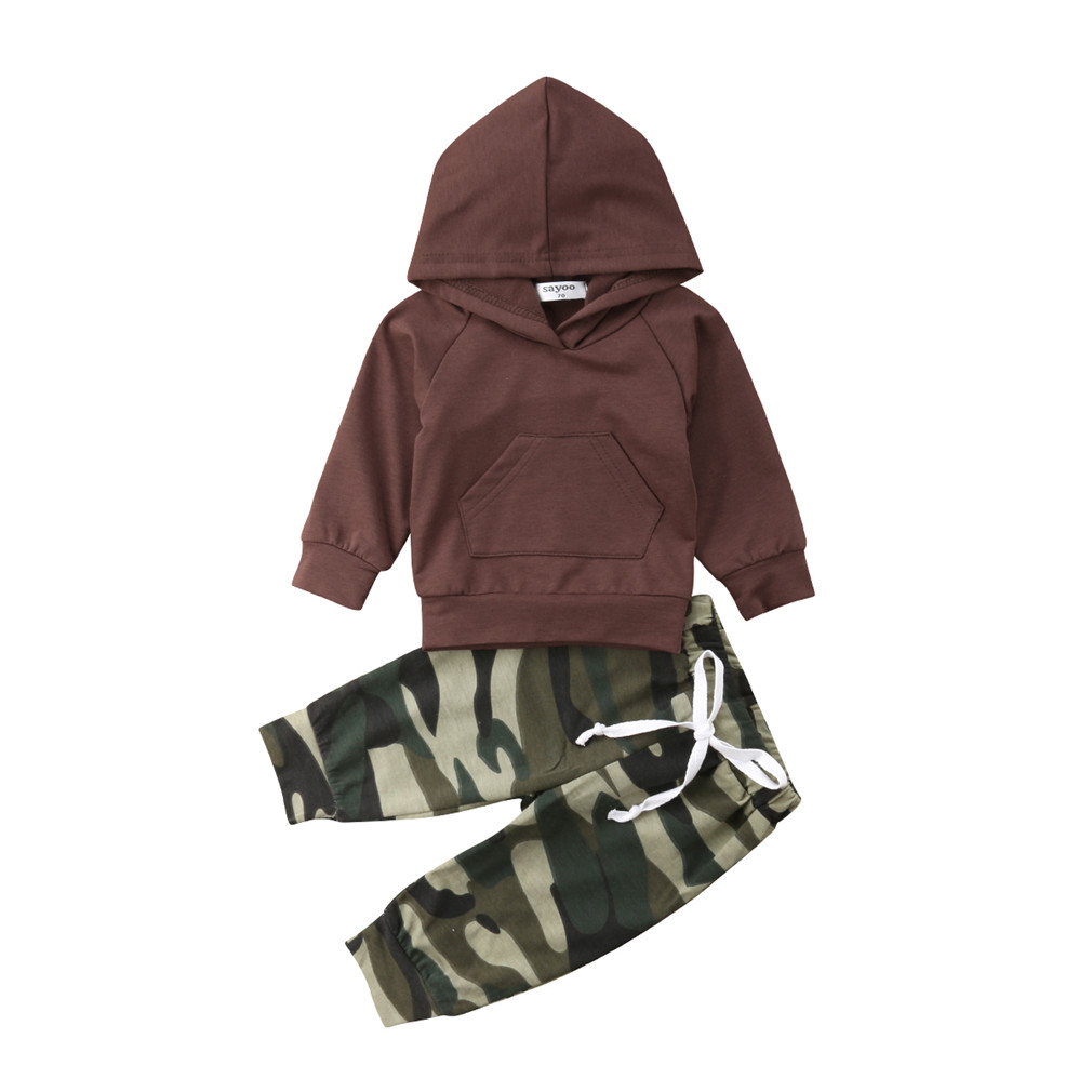 Autumn Newborn Kids Baby Boys Clothes Camouflage Tops+Leggings Pants Outfits Set