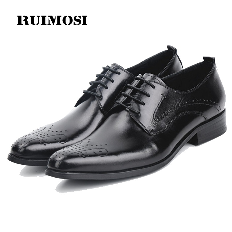 RUIMOSI Hot Pointed Toe Breathable Man Formal Wedding Dress Shoes Genuine Leather Male Oxfords Derby Men's Bridal Flats FK49