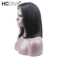 HCDIVA 130 Density Straight U Part Lace Front Human Hair Wigs For Black Women Brazilian