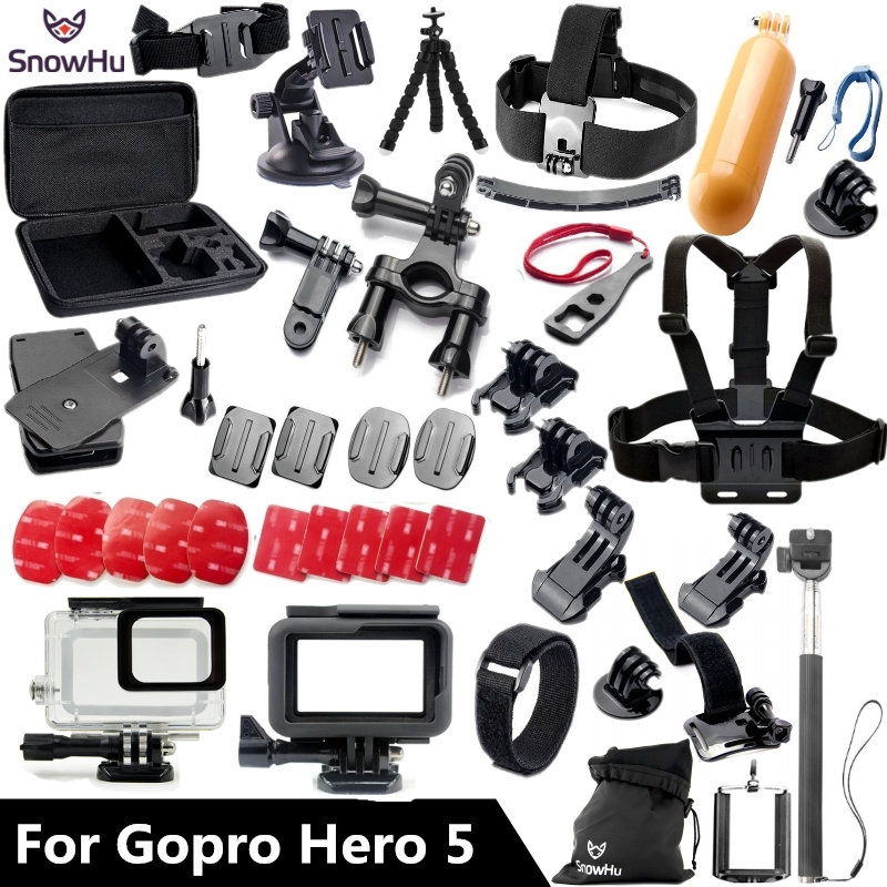 SnowHu for Gopro accessories set For Gopro hero 7 6 5 waterproof protective case chest mount Monopod for go pro HERO 7 6 5 GS41 45m waterproof case mount protective housing cover for gopro hero 5 black edition