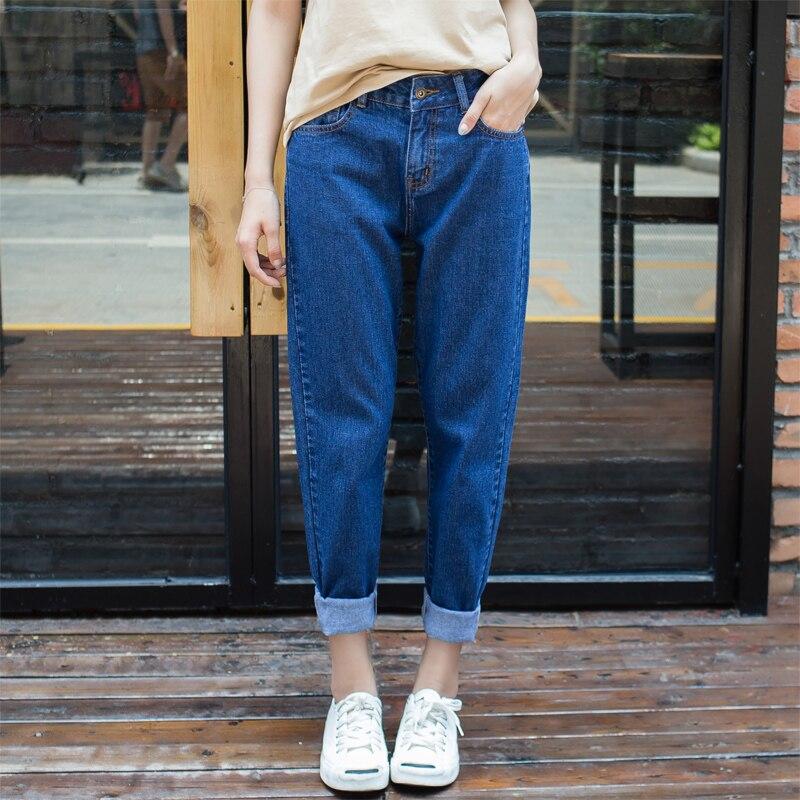 Jeans Guuzyuviz Plus Size High Wiast Jeans Woman Vintage Autumn Winter Cotton Denim Washed Loose Patch Work Harem Pants