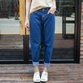 Mujeres Boyfriend jeans de Moda Casual de La Vendimia de Cintura Alta Pantalones Harén Cintura Azul Oscuro Femenina Floja Denim Baggy Jeans Tallas grandes