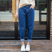 Women jeans Trendy Casual Vintage Boyfriend High Waist Harem Pants Dark Waist Blue Loose Female Denim Baggy Jeans Plus Size