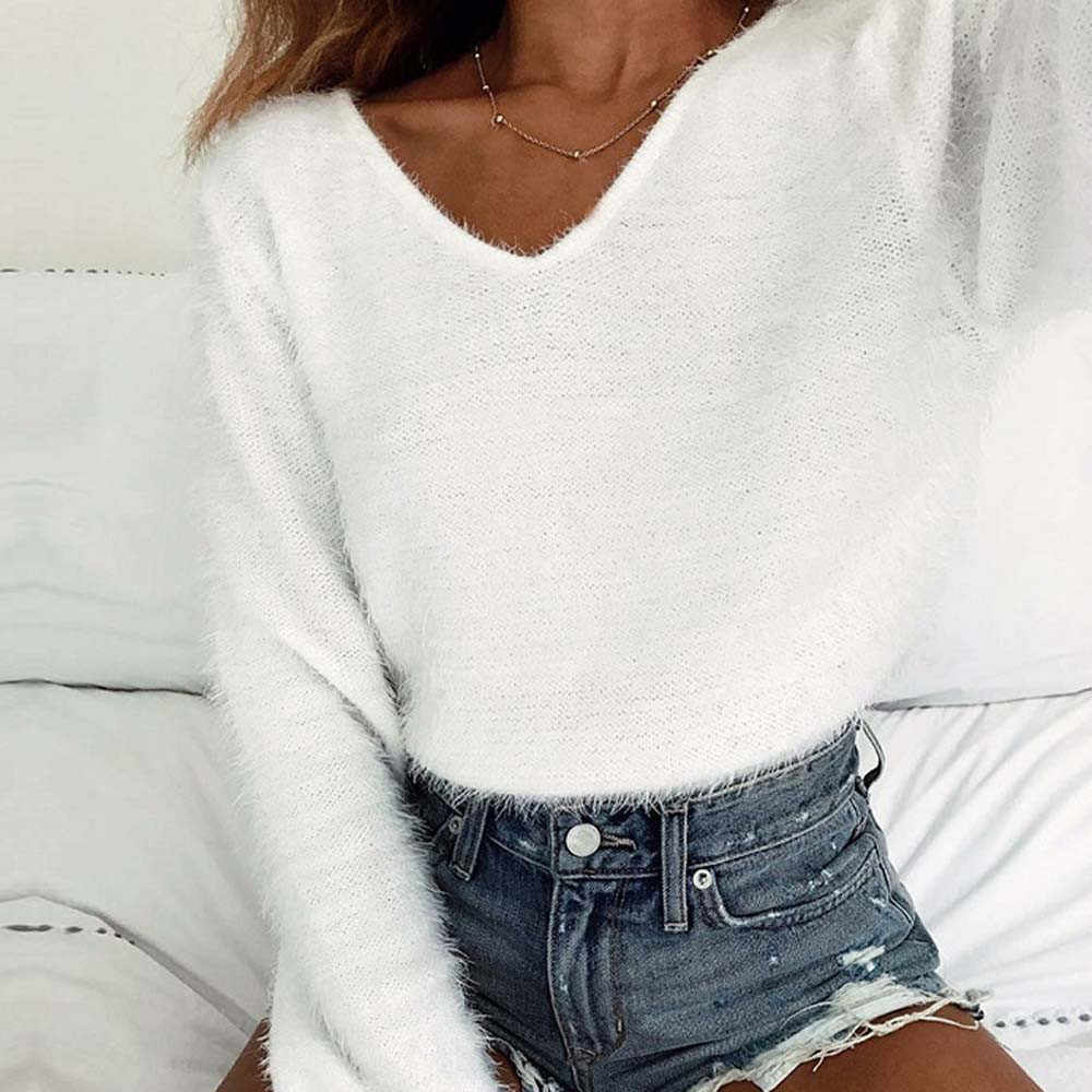 2018 Autumn winter new crop sweater casual sexy women sweaters and  pullovers knitted jumpers short basic 5ebd98f4b