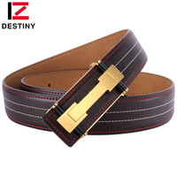 DESTINY Top Genuine Leather Belt Men Luxury Brand Famous Designer High Quality Strap Male Silver Gold