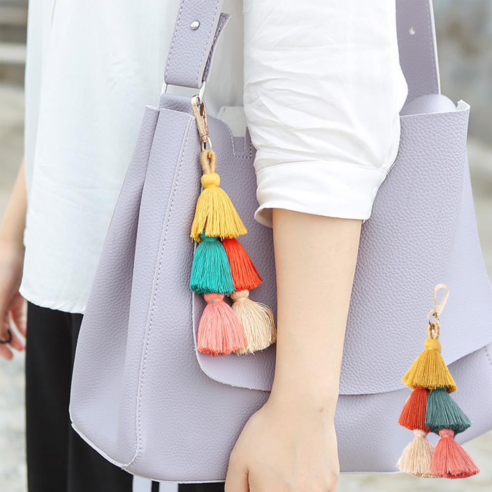 Mutter & Kinder Boho Frauen Bunte Quaste Schlüssel Kette Handtasche Zubehör Auto Schlüsselanhänger Handtasche Decor