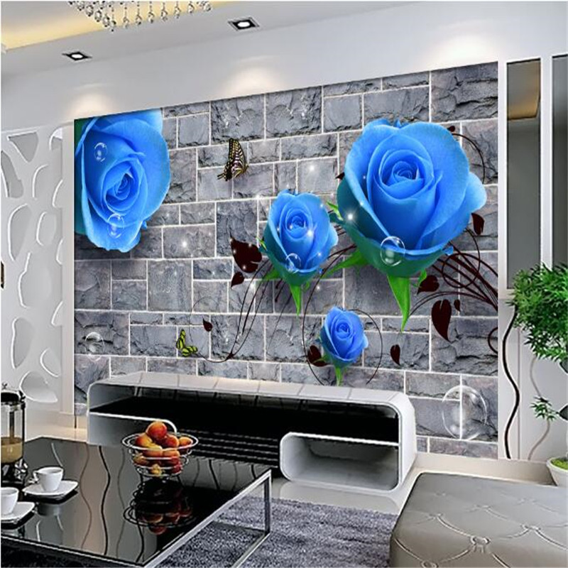 custom 3d photos non-woven mural wallpaper 3d living room bedroom sofa TV background wallpaper mural blue rose brick wall rose bead curtain large mural 3d wallpaper living room bedroom 3d wallpaper painting tv background stereo 3d wallpaper