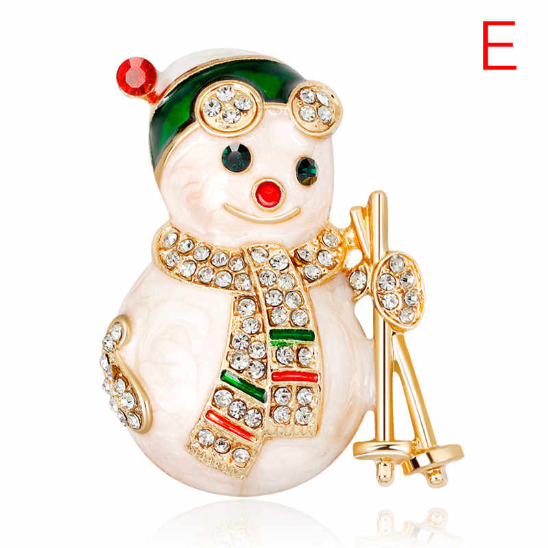 Kawaii Christmas Enamel Brooch Tree Nice Red Shoe Boot Bell Deer Snowman Crystal Pin For Women Party Jewelry Christmas Gift