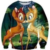New Fashion 2014 Autumn Men Women S 3D Sweatshirt Print Cartoon Bambi Deer Harajuku Style Sweater