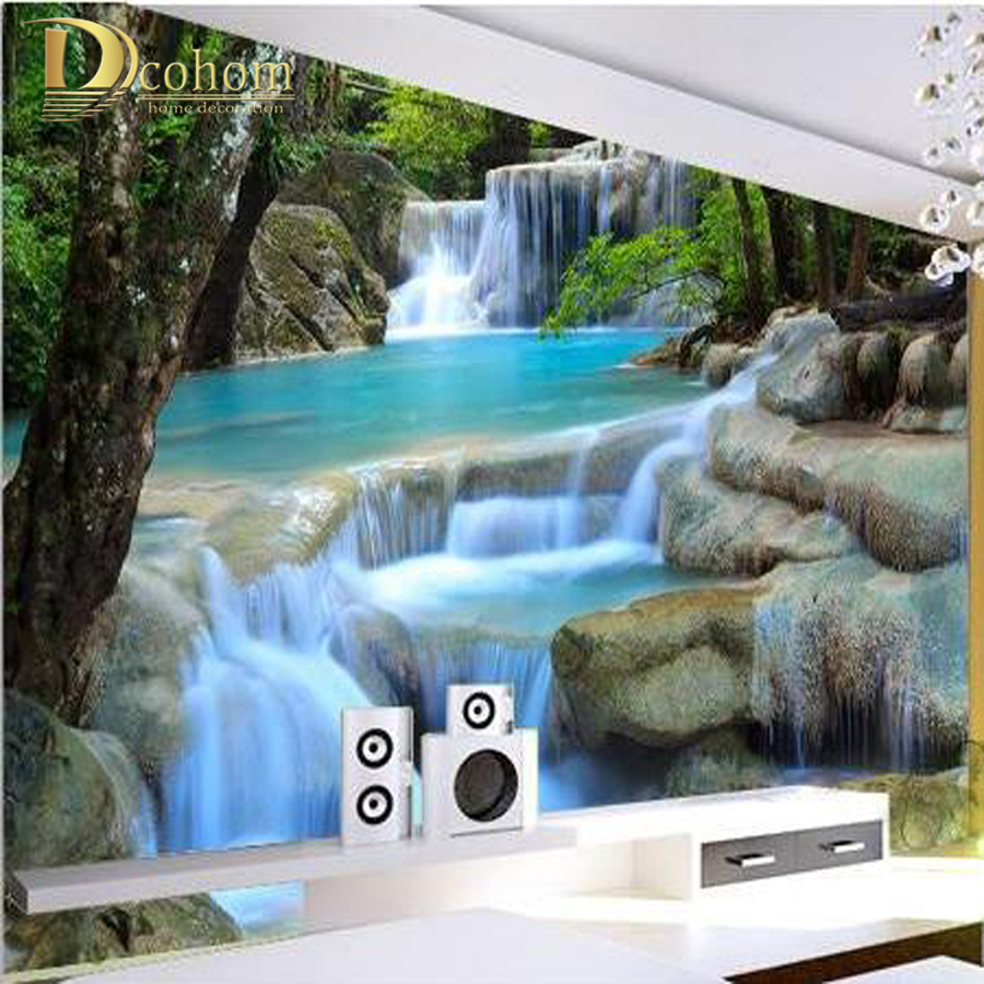 Custom photo wallpaper Waterfall scenic lake resort in the morning sun background large mural 3d wall wallpaper for living room mary pope osborne magic tree house 3 mummies in the morning full color edition