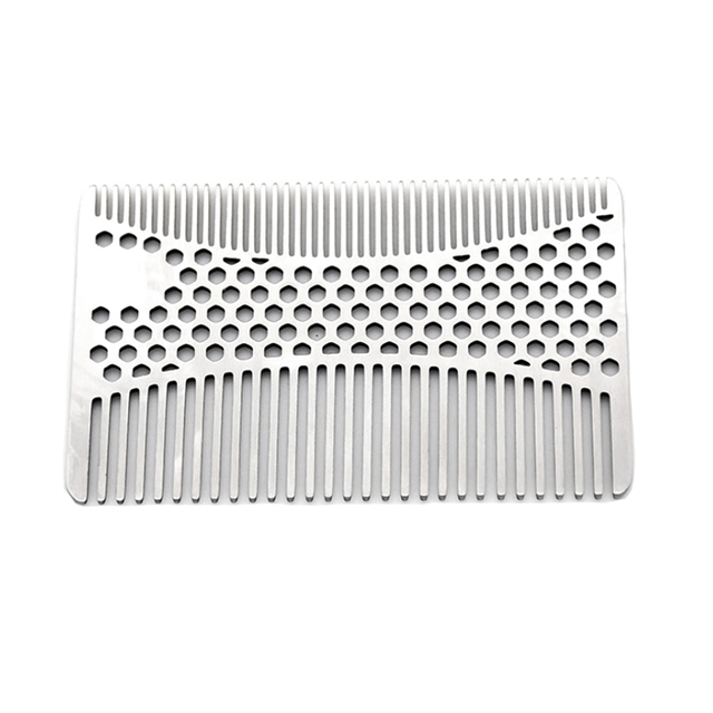 1pc Stainless Steel Mustache Comb Beard Comb For Men's Shaving Mustache Brush Facial Hair Brush Grooming Tool