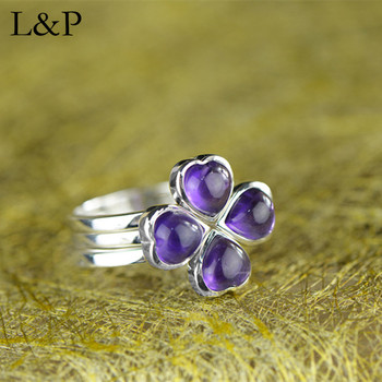 Fashion Crystal Flower 3 in 1  925 Sterling Silver Ring for Women Elegant Natural Gemstone Ring Silver Jewelry Christmas Gift