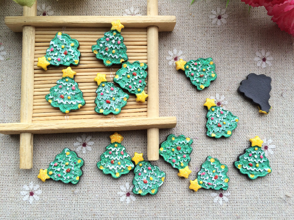 Free Shipping! Resin Christmas Tree , Resin Flat Back