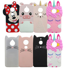 Cartoon Silicone Case Cover Voor Motorola Moto G6 Plus Spelen G5S E5 E4 G7 Power 3D Minnie Eenhoorn Kat Varken zachte Funda Coque(China)