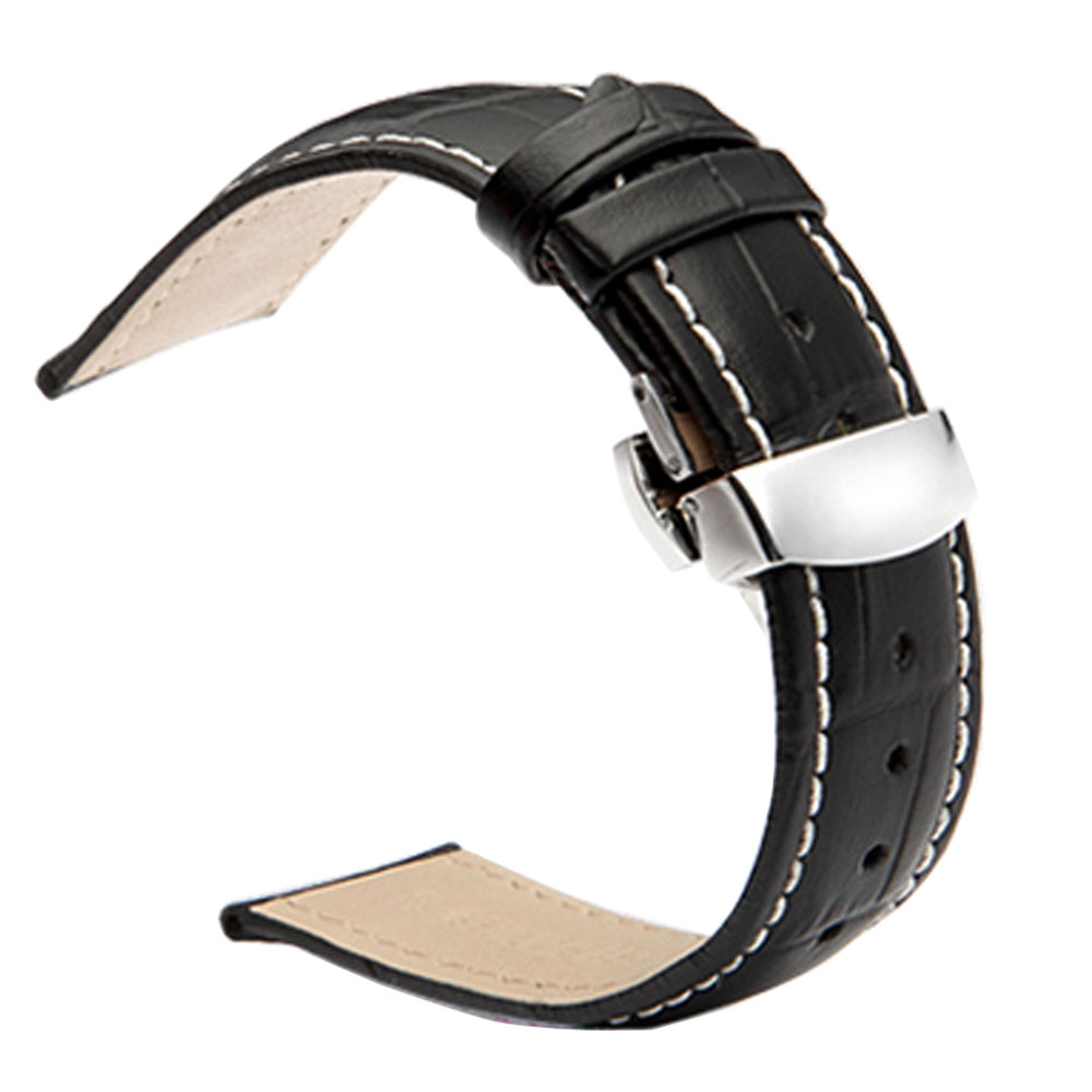 High Quality 22mm Black Embossed Leather Wrist Watch Clock Hour Strap Band Steel Butterfly Buckle Replacement  PD012122 luxury grain cow black brown replacement embossed watchband genuine leather high quality 18mm 20mm 22mm 24mm wrist watch band