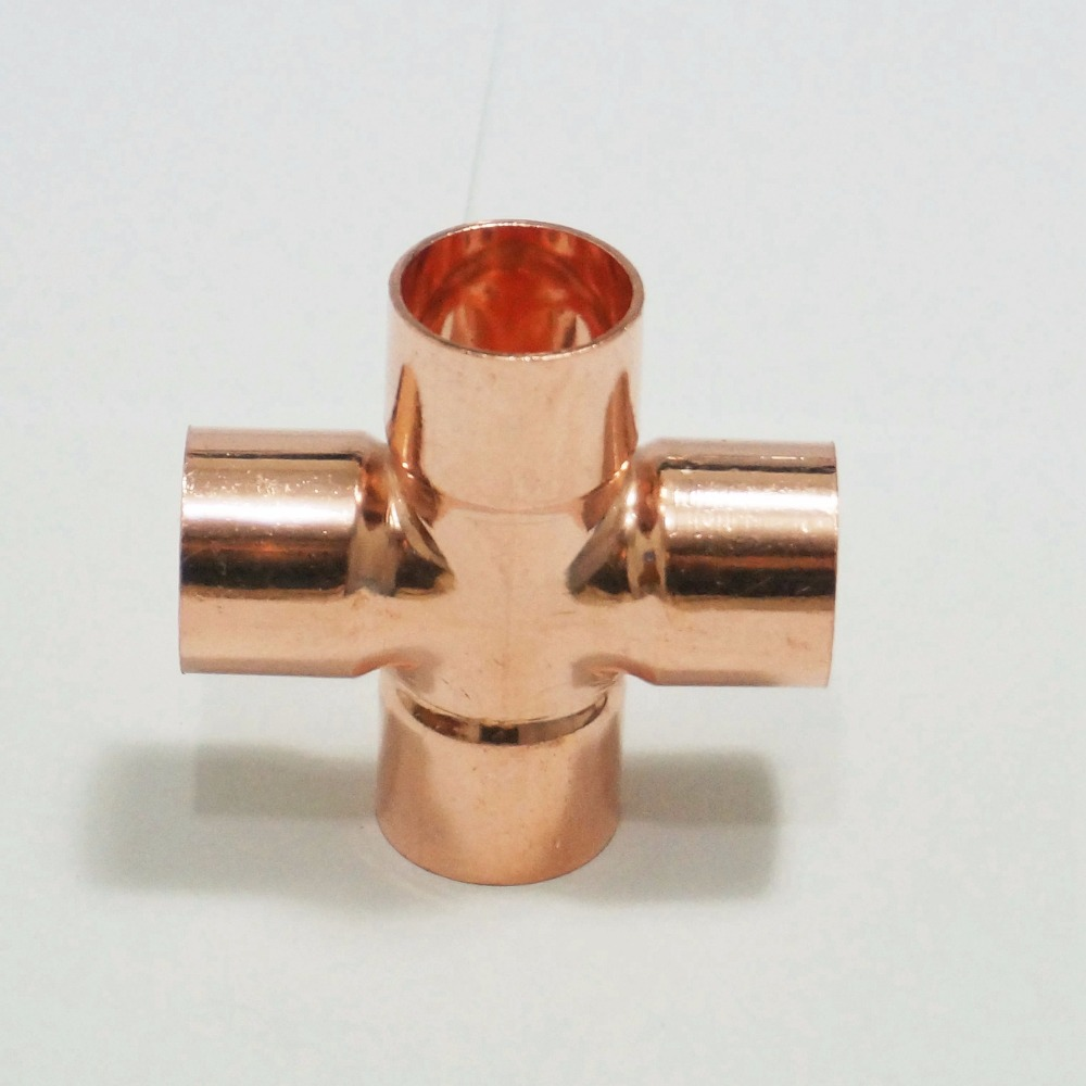 15mm Copper End Feed Equal Cross 4 Ways Plumbing Sanitary Pipe Fitting For Gas Water Oil