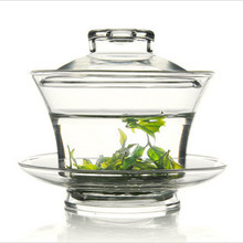 Caliente venta Gaiwan sopera cristal tetera Drinkware 150 ml flor Puer taza de té alta borosilicato resistente al calor Kung Fu taza del recorrido del conjunto