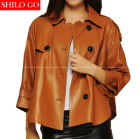 Plus size new fashion women high quality Sheep skin Lapel single breasted pocket Candy color loose genuine leather skirt jacket